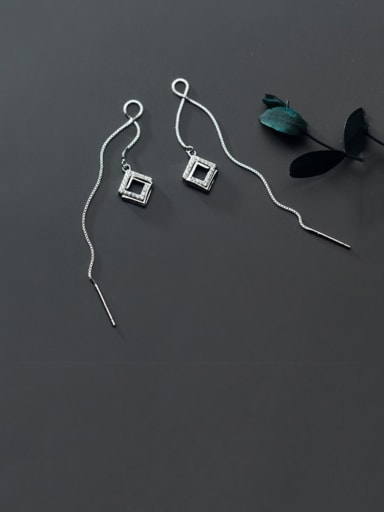 925 Sterling Silver With Platinum Plated Simplistic Geometric Threader Earrings