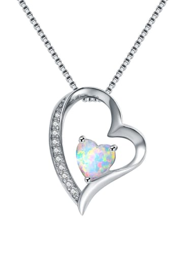 Copper inlaid Zirconia Heart Shaped opal necklace