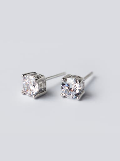 S925 Simple Claw Single Zircon lovers Studs stud Earring