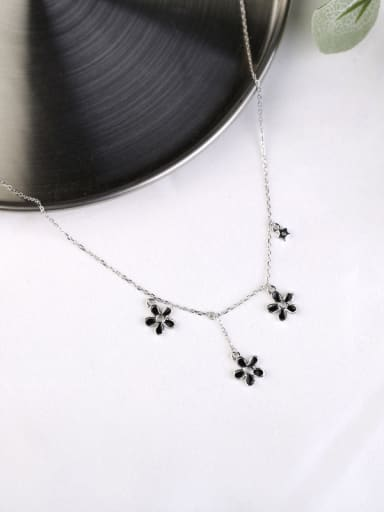 Fashion Black Flowers Silver Necklace