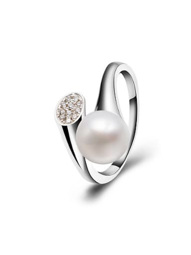 Fashion Freshwater Pearl Zircon Opening Cocktail Ring