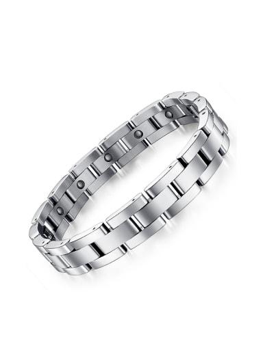 Simple Black Cubic Magnets Titanium Bracelet