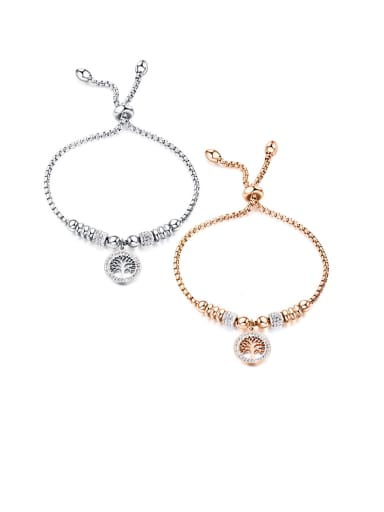 Stainless Steel With  Cubic Zirconia  Simplistic Hollow Round Bracelets