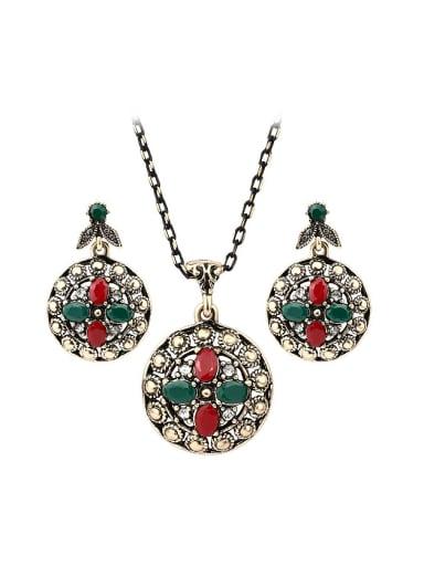 Bohemia Retro style Resin stones Alloy Two Pieces Jewelry Set