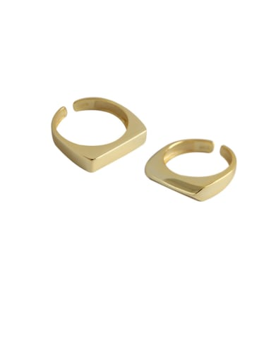 925 Sterling Silver With Smooth Simplistic Geometric Free Size Rings