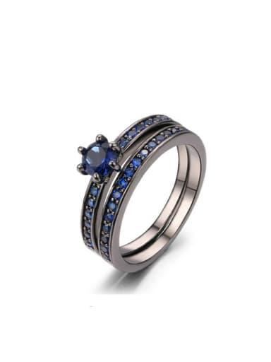 Luxury Black Gun Plated Geometric Shaped Zircon Ring Set