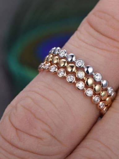 Copper With Rose Gold Plated Simplistic Round  Cubic Zirconia  Band Rings