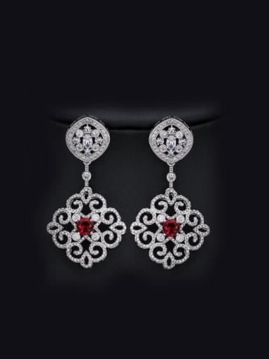 Retro Flower Zircons Chandelier earring