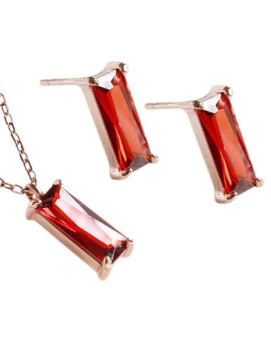 Sterling silver simple red square zircon stud earrings and short necklace