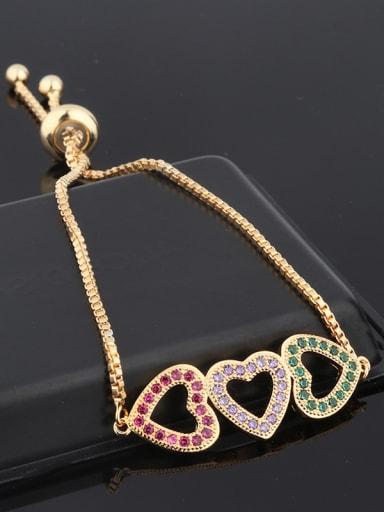 Copper With Rhinestone Fashion Heart Bracelets