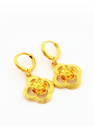 Luxury 24K Gold Plated Flower Shaped Drop Earrings