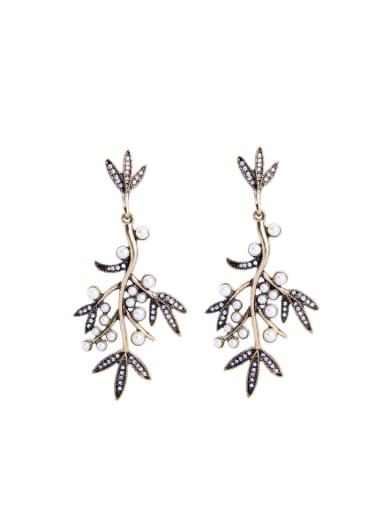 Leave-shape Artificial stones Stud Chandelier earring