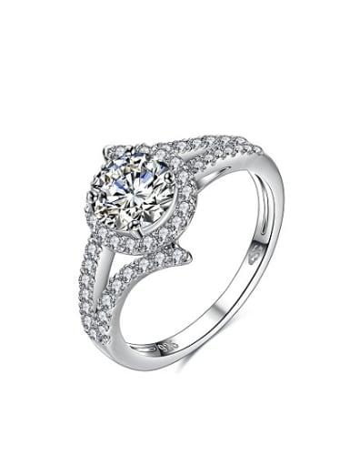 Women 925 Sterling Silver Round Zircon Ring