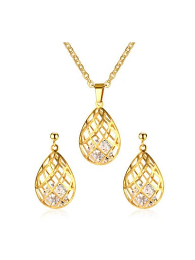 Exquisite Hollow Water Drop Shaped Zircon Two Pieces Jewelry Set