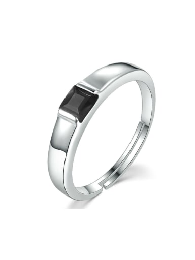 Simple Classical Agate Unisex Silver Ring