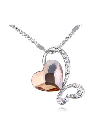 Fashion Cubic Heart Swarovski Crystals Pendant Alloy Necklace