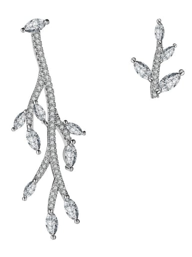 Copper With Platinum Plated Personality Tree branch Cluster Earrings