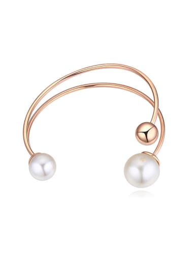 Champagne Gold Plated Imitation Pearls Alloy Opening Bangle
