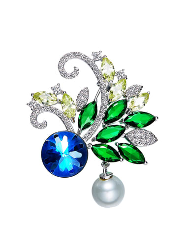 2018 2018 Flower-shaped Crystal Pearl Brooch