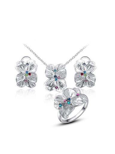 Elegant White Gold Plated Flower Shaped Crystal Three Pieces Jewelry Set