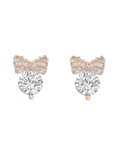 Copper With Cubic Zirconia  Plated Simplistic Bowknot Stud Earrings