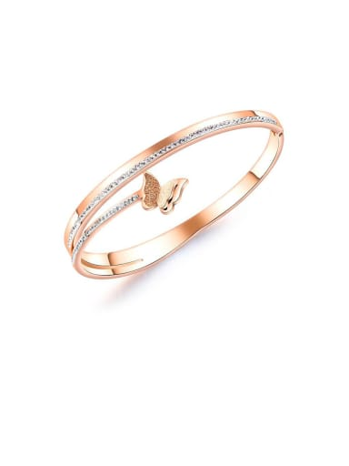 Stainless Steel With Rose Gold Plated Simplistic Butterfly Bangles