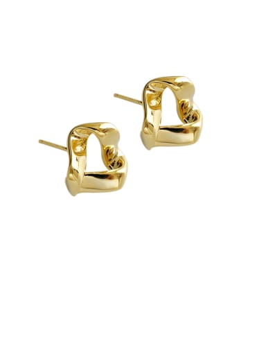 925 Sterling Silver With Gold Plated Simplistic Hollow Geometric Stud Earrings