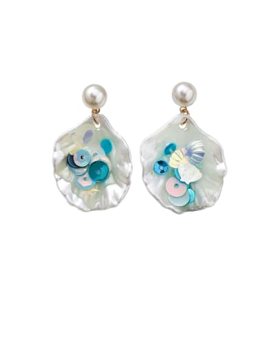 Alloy With Shell Simplistic Colorful Sequins  Geometric Drop Earrings