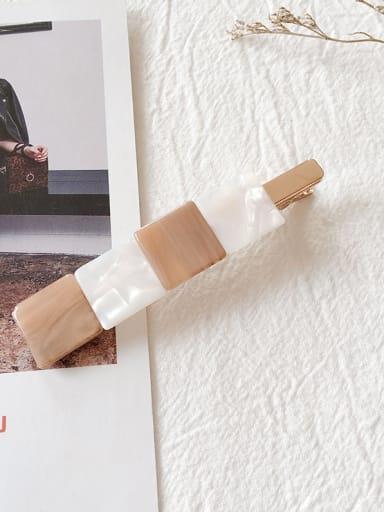 Khaki Alloy With Cellulose Acetate Fashion Geometric Barrettes & Clips