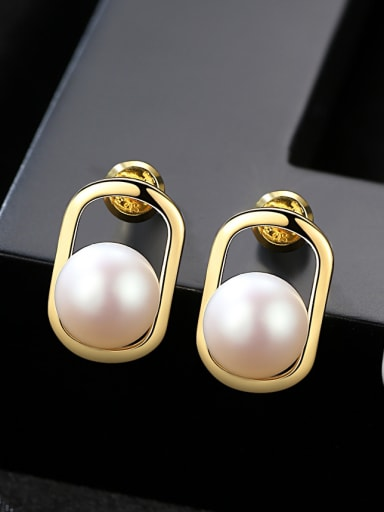 Sterling silver natural 8-8.5mm pearl earrings