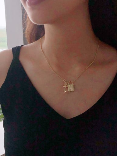 925 Sterling Silver With Gold Plated Simplistic Key Locket Necklaces