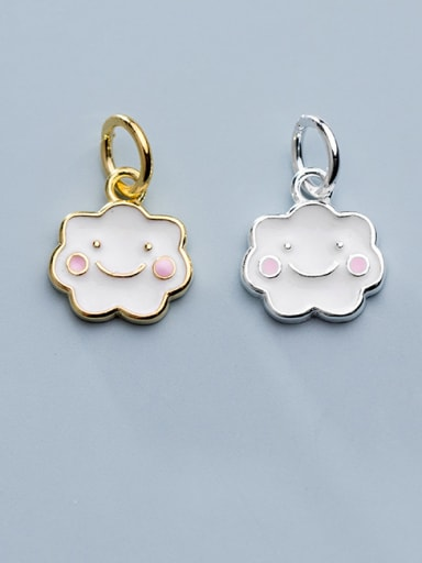 925 Sterling Silver With  Enamel  Cute Geometric  Smiling Face Charms