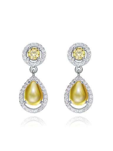 Fashion Cubic Zirconias Water Drop 925 Silver Stud Earrings