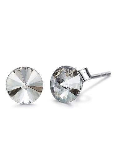 Simple Little Round Swarovski Crystal 925 Silver Stud Earrings