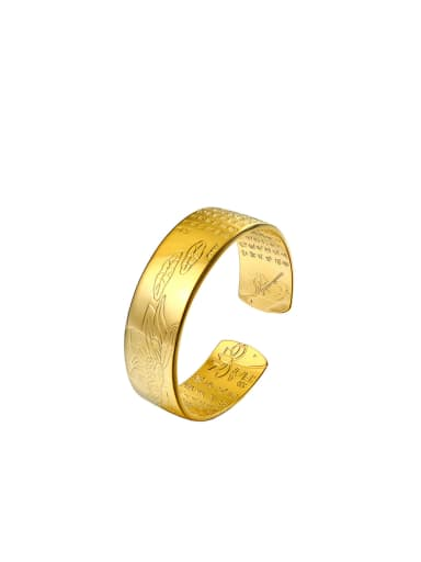 Copper Alloy 24K Gold Plated Ethnic Buddhism Character Opening Bangle