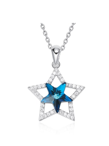 Fashion Hollow Star Swarovski Crystal Pendant Copper Necklace