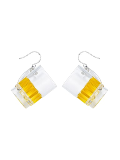 Personalizd Beer Mug PVC Silver Earrings