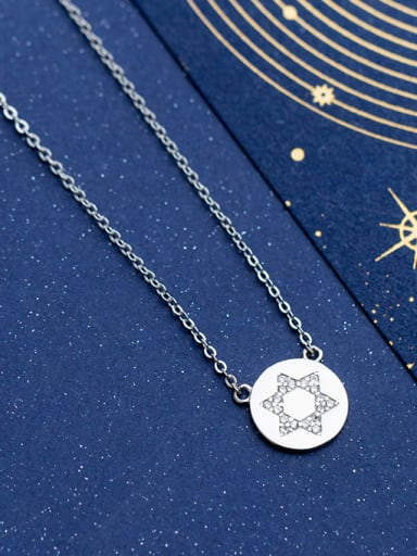 925 Sterling Silver With Silver Plated Personality Round With Star Necklaces