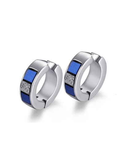Blue Shining Sticker Stainless Steel Clip Earrings