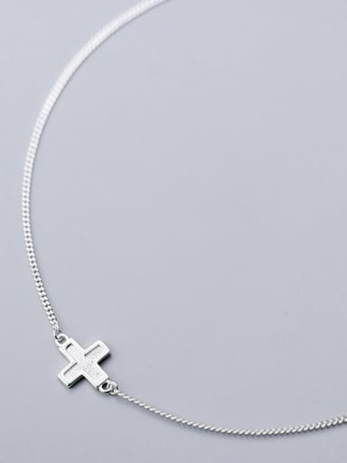 Sterling silver personality cross clavicle chain