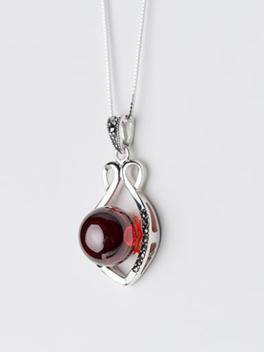 Fashion Hollow Flower Shaped Red Opal Silver Pendant