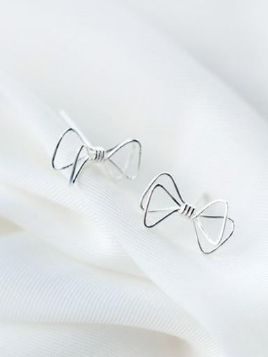 S925 silver sweet bowknot stud cuff earring