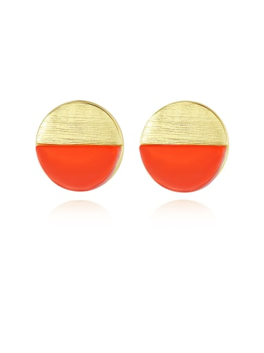 925 Sterling Silver With Enamel Simplistic Round Stud Earrings
