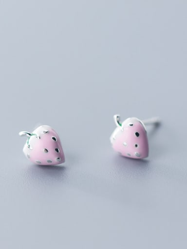 925 Sterling Silver With Silver Plated Personality Pink strawberry Stud Earrings
