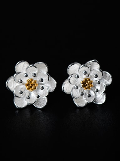 Simple Little Flower 925 Silver Stud Earrings