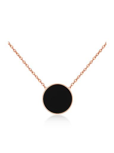 Simple Black Round Titanium Necklace