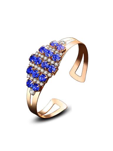 Fashion White Blue Zirconias Copper Opening Bangle