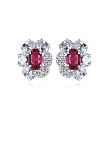 925 Sterling Silver With Platinum Plated Delicate Flower Stud Earrings