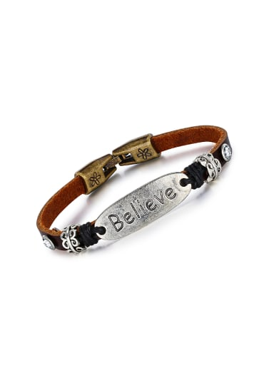 Retro style Brown Artificial Leather Titanium Bracelet