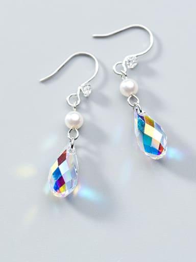 Elegant Colorful Water Drop Crystal S925 Silver Drop Earrings